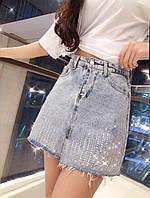 Женская джинсовая юбка с камнями, фото 1