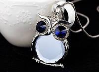 """Модна підвіска прикраса """"Сова"""", кулон - оформлення темно-сині і сірий кристали"""