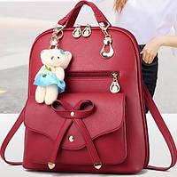 Женский рюкзак городской с брелком мишкой Тедди Левона красного цвета, фото 1