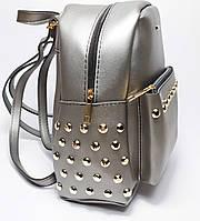 Рюкзак женский  PRADA реплика, экокожа серебро