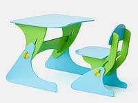 Детский растущий стульчик и стол зелено-голубой ТМ SportBaby