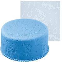 """Текстурный коврик для раскатки мастики""""Happy Birthday""""(Код 01191)"""
