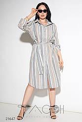 Льняное платье-рубашка с принтом в полоску