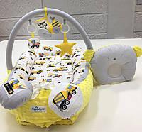 Гнездо кокон для новорожденных, кокон-позиционер, гнездышко с дугами, развивающий коврик