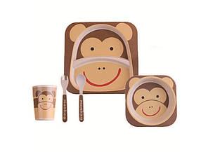 Набор детской посуды Kronos Toys Бамбук Мартышка Чита Коричневый (tps_88-8720879)