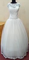 71.3 Шикарное белое свадебное платье с кружевом и коротким рукавчиком, размер 54