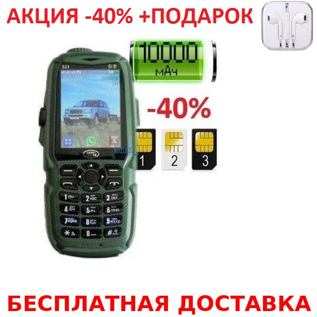 Мобильный телефон Land Rover Hope S23 3 sim + Power Bank 10000 mah + наушники iPhone 3.5