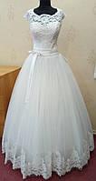 71.4 Шикарное белое свадебное платье с кружевом и коротким рукавчиком, размер 50