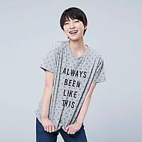 Женская стильная серая хлопковая футболка в горошек  с принтом Uniqlo, фото 1