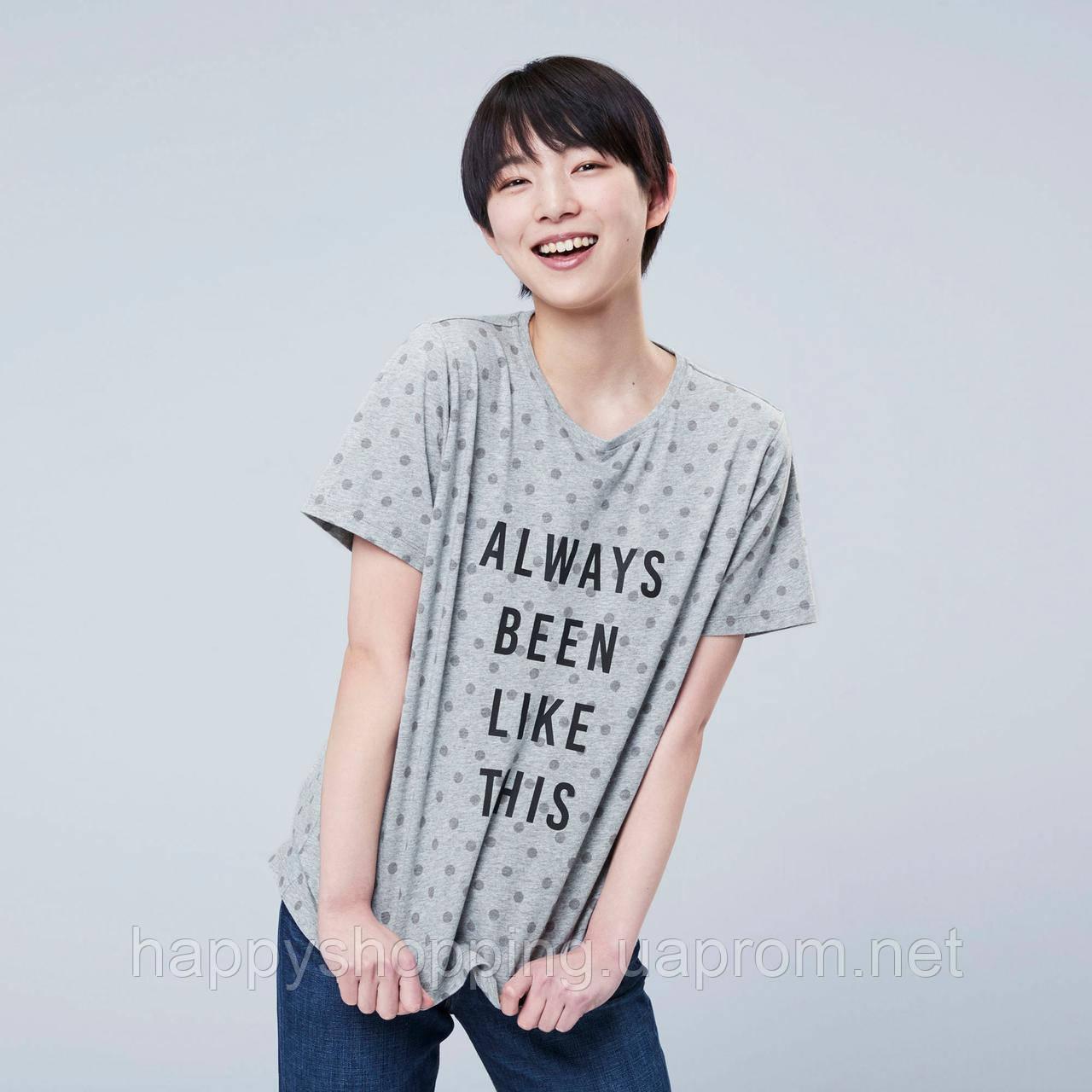Женская стильная серая хлопковая футболка в горошек  с принтом Uniqlo