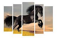 Модульная картина 120х80 см Черный конь