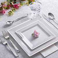 Тарелки стеклопластик белые с серебром 190 мм 6 шт