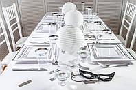 Набор посуды стеклопластик белый с серебром 116 предметов