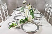 Тарелки стеклопластик белые с серебром 260 мм 6 шт