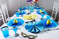 Бокалы стеклопластик синие с серебром  130 мл 6 шт