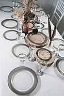 Тарелки стеклопластик прозрачные с серебром 260 мм 6 шт