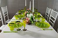 Набор посуды стеклопластик зеленый с золотом 84 предмета