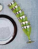 Бокалы стеклопластик зеленые с золотом 130 мл 6 шт