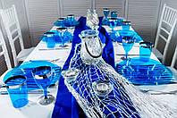 Набор посуды стеклопластик синий с серебром 90 предметов