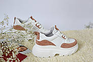 Женские кроссовки Atomio Lardini на высокой подошве натуральная кожа\замш, фото 4