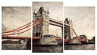 Модульная картина Триптих Тауэрский мост Лондон 100х53 см