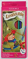 Карандаши цветные 12 цветов Leonardo (гибкие)