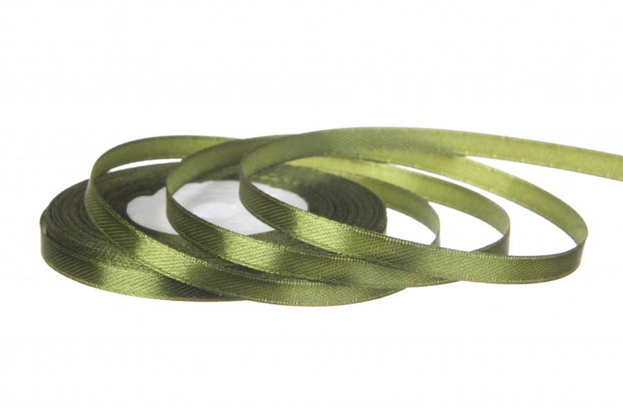 Лента атласная 6 мм 23 метра оливковый