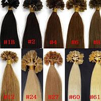 Натуральные волосы на кератиновых капсулах 50см, 100прядей Черно Коричневый 1В