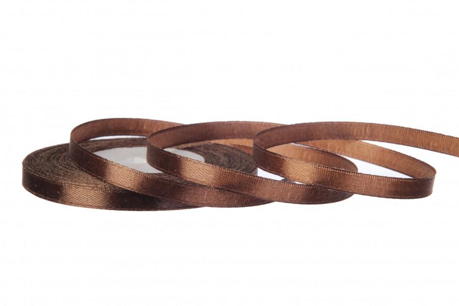 Лента атласная 6 мм 23 метра коричневый