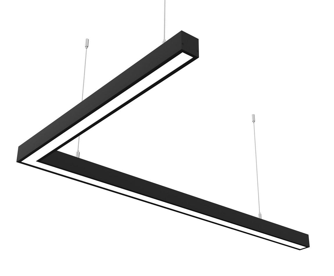 Линейный светодиодный светильник Z-LED 80Вт L-образный черный (1000*600)
