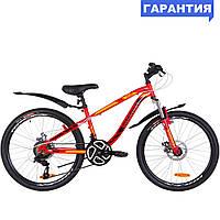 """Велосипед 24"""" Discovery FLINT AM DD 2019 (красно-оранжевый)"""
