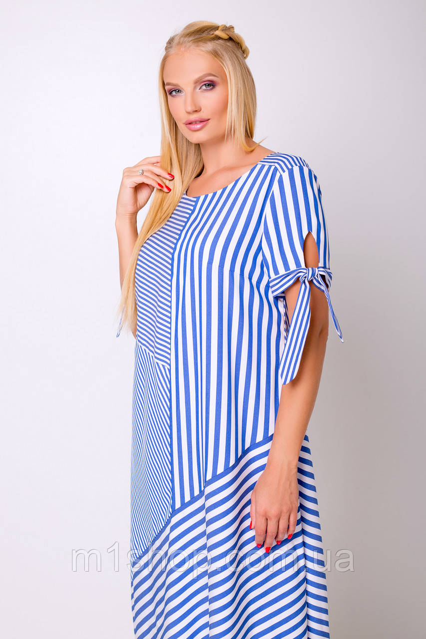 Женское свободное полосатое платье больших размеров (Лира lzn)