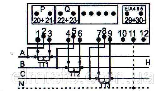 Подключение электросчетчика ЛЕТ 01 2121R-FOS02Sс тремя трансформаторами тока