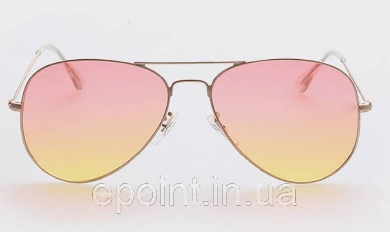 0ba76b0e6ed7 Женские солнцезащитные очки Авиаторы, золотистая оправа, розово-желтые линзы