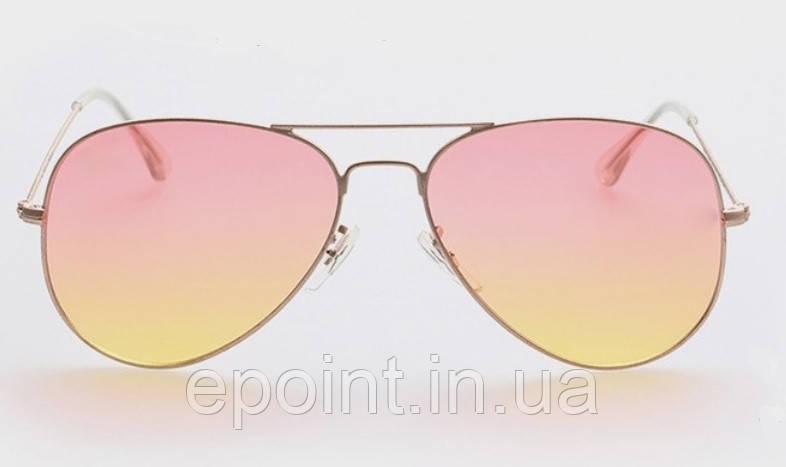 1bc9c4f3839c Женские солнцезащитные очки Авиаторы, золотистая оправа, розово-желтые  линзы - Интернет-магазин