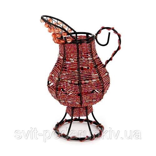 Подсвечник декоративный бисер PE-1 кувшин розовый