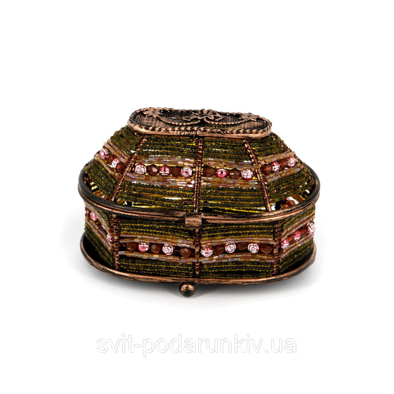 Шкатулка для украшений из бисера зелёная SC-1 - Svit Podarunkiv оригинальные подарки и сувениры в Киеве