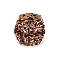 Шкатулка для украшений и драгоценностей из бисера светло коричневая SА-2