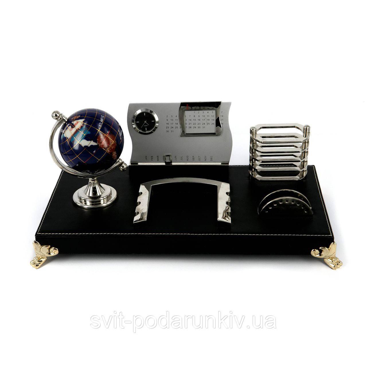 Офисный набор на стол глобус из камня с часами CAS8031