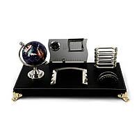Офисный набор на стол с каменным глобусом и календарём на золотистых ножках CAS8031
