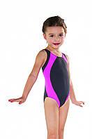 Купальник для девочки цельный 146 Серый с розовыми вставками Shepa 009