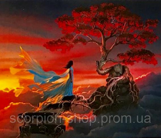 Картина по номерам «Девушка у дерева на горе» (40*50 см)