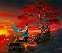Картина по номерам «Девушка у дерева на горе» (40*50 см) , фото 1