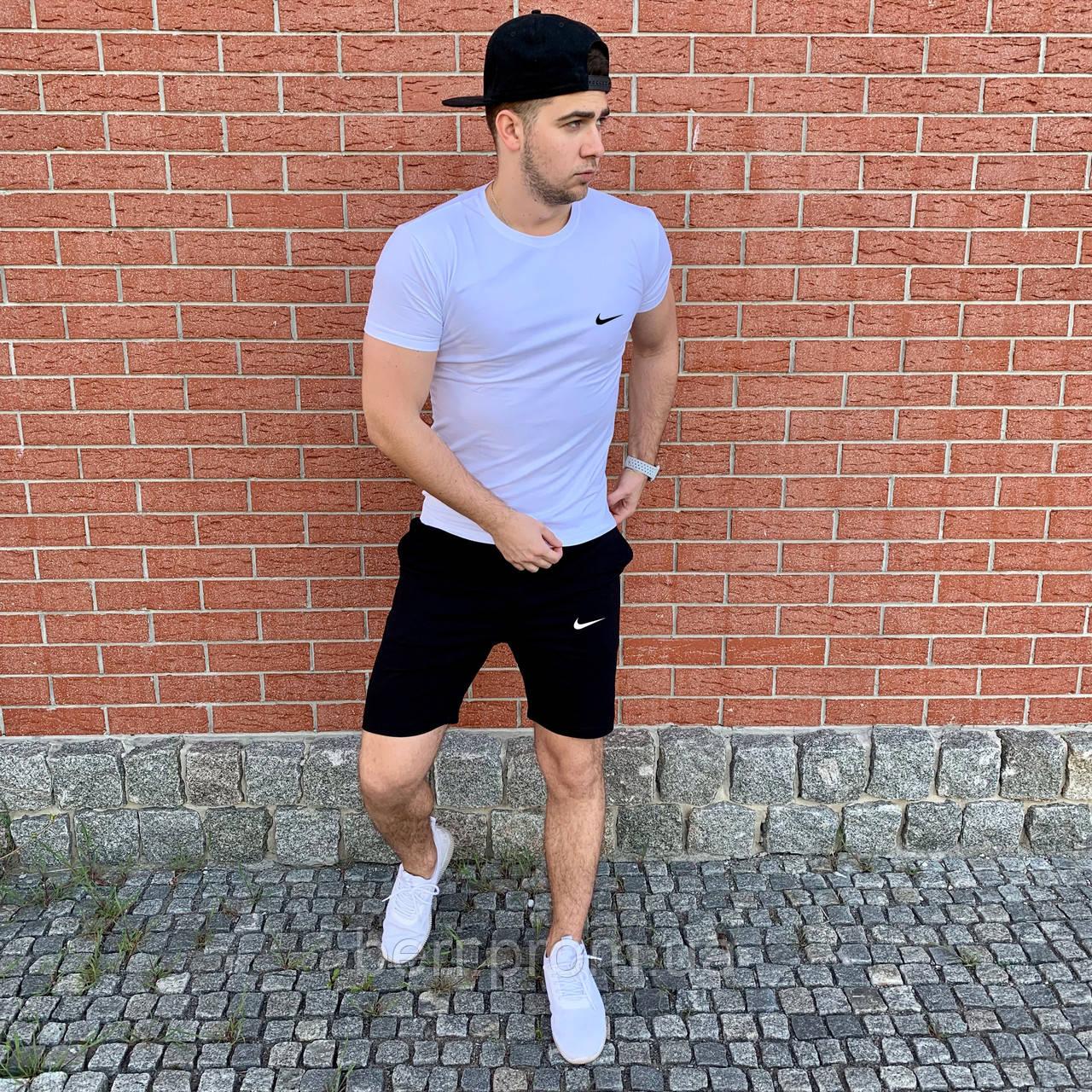 7b5b194b Мужской летний спортивный костюм, комплект шорты и футболка Nike | Найк  (Черно-Белый