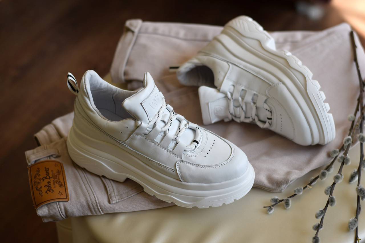 Женские кроссовки Dragani с высокой подошвой, натуральная кожа