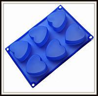 Силиконовая форма Сердечки 6 шт 26.5*18*3 см