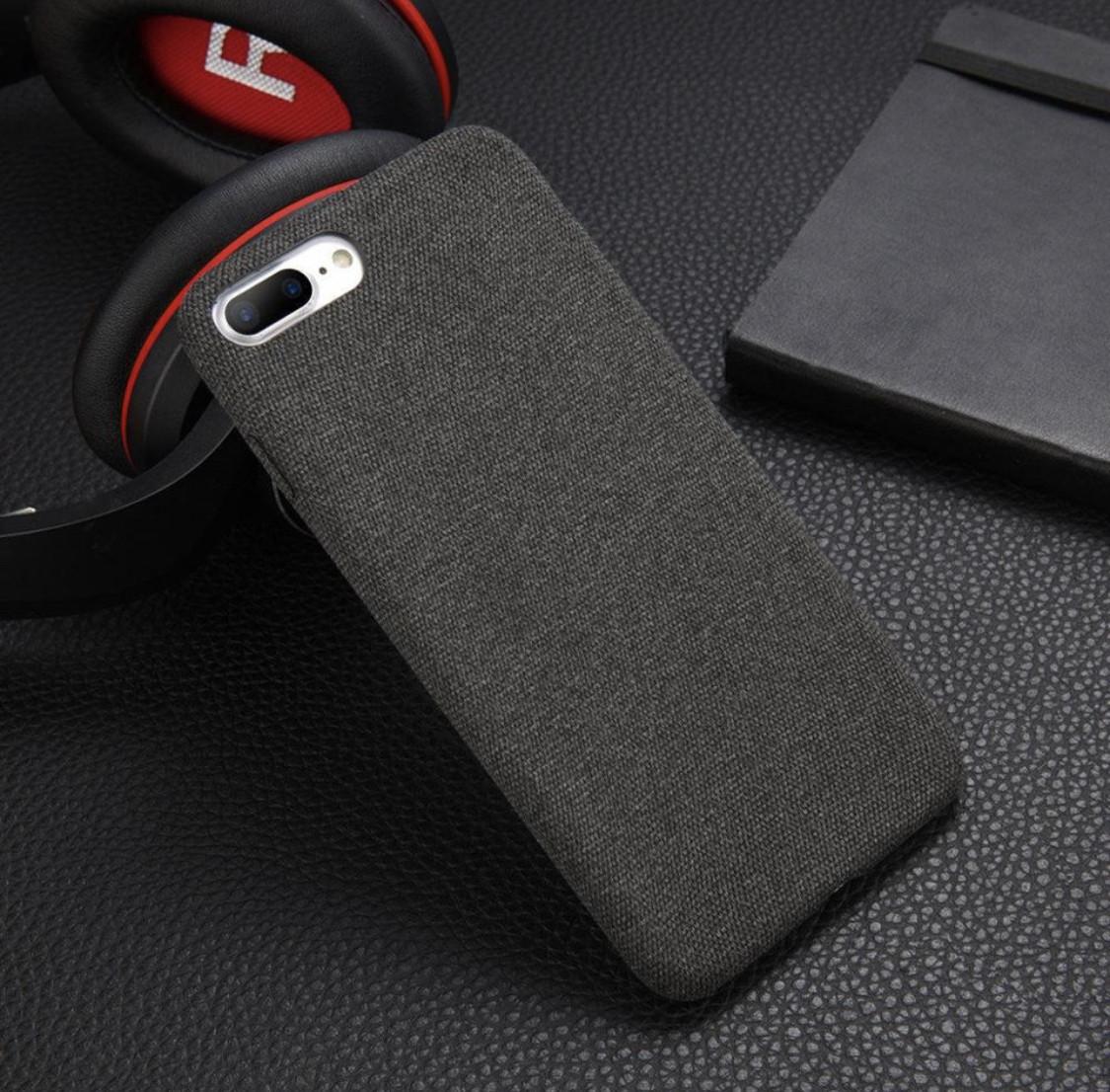 Защитный текстильный чехол для смартфона Apple iPhone 6/6s/6+/6s+7/8/7+/8+/X/XS «iCase» в темно-сером цвете
