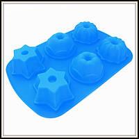 Силиконовая форма Кексы ассорти глубокие 6 шт 29*18*4 см