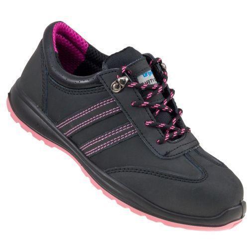 Обувь 214 S1 защитная с металлическим носком, закрытой пяткой, черно-розового цвета.  Urgent (POLAND)