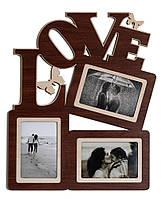 Фоторамка коллаж Love 37х45 см Коричневый